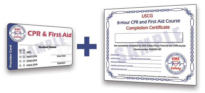 ems safety card uscg certificate completion approval guard coast course